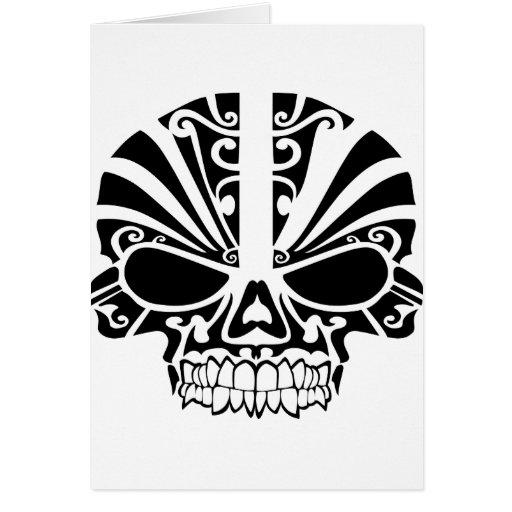 Maori Tattoo Mask Skull Cards | Zazzle