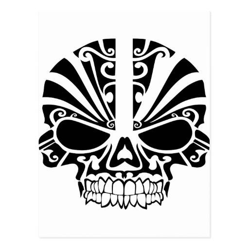 Maori Tattoo Uk: Maori Tattoo Mask Skull Post Card