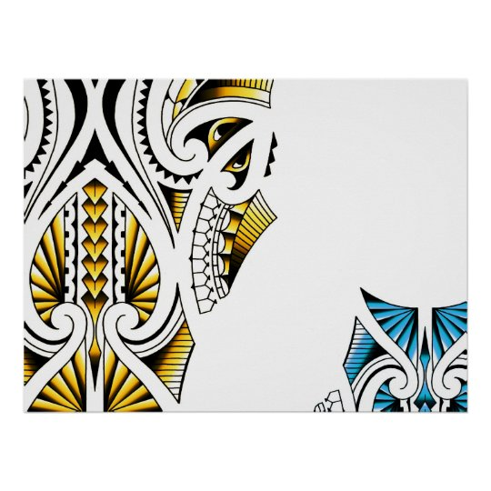 Maori Tattoo Uk: Maori Tribal Tattoo Artwork Poster