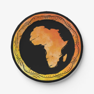 Map Africa Paper Plate