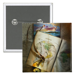 Map And Compass 15 Cm Square Badge