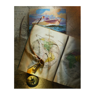 Map And Compass Acrylic Wall Art