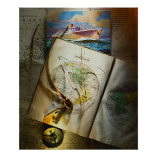 Map And Compass Poster