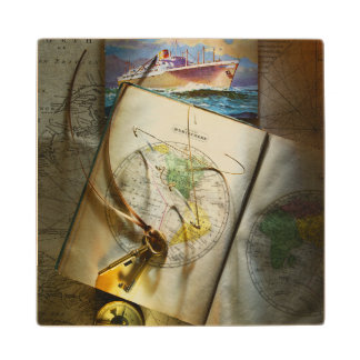 Map And Compass Wood Coaster