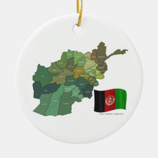Map and Flag of Afghanistan Christmas Ornament