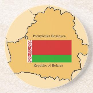 Map and Flag of Belarus Sandstone Coaster