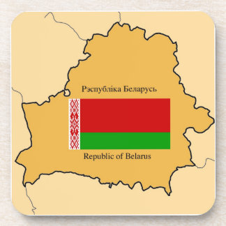 Map and Flag of Belarus Drink Coasters
