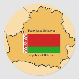 Map and Flag of Belarus Round Sticker