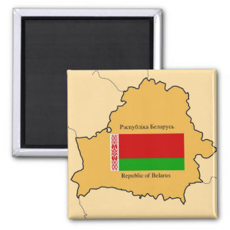 Map and Flag of Belarus Square Magnet