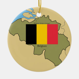 Map and Flag of Belgium Christmas Ornaments