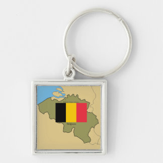 Map and Flag of Belgium Key Ring