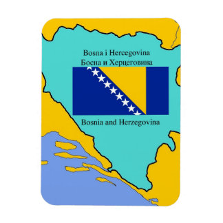 Map and Flag of Bosnia Herzegovina Rectangular Photo Magnet