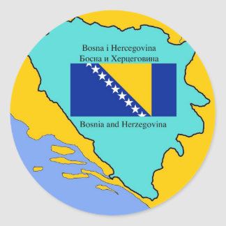 Map and Flag of Bosnia Herzegovina Round Sticker