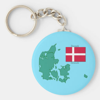 Map and Flag of Denmark Key Ring
