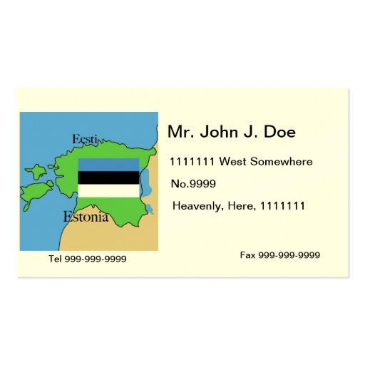 Map and Flag of Estonia Business Card Template