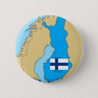 Map and Flag of Finland 6 Cm Round Badge