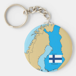 Map and Flag of Finland Key Ring