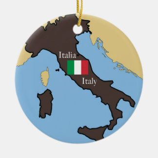 Map and flag of Italy Christmas Ornament