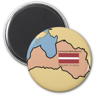 Map and flag of Latvia Magnet