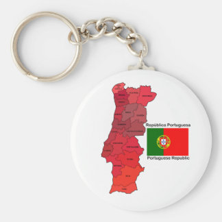 Map and Flag of Portugal Key Ring
