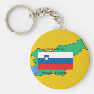 Map and Flag of Slovenia Key Ring