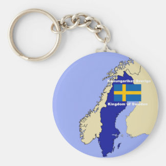 Map and Flag of Sweden Key Ring