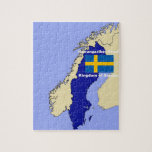 Map and Flag of Sweden Puzzles