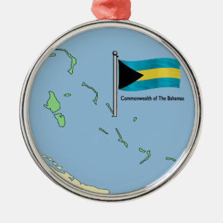 Map and Flag of the Bahamas Silver-Colored Round Decoration