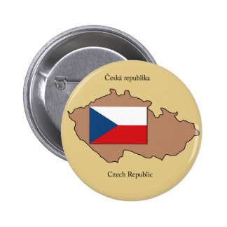 Map and Flag of the Czech Republic 6 Cm Round Badge