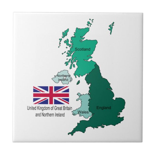 Map and Flag of the United Kingdom Small Square Tile