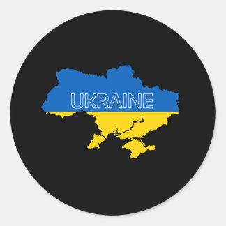 Map and Flag of Ukraine Classic Round Sticker