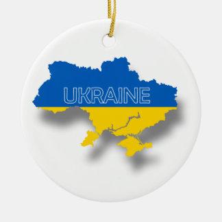 Map and Flag of Ukraine Round Ceramic Decoration