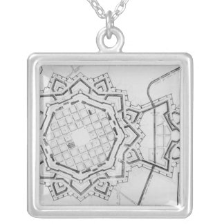 Map and fortifications of Neuf-Brisach Silver Plated Necklace