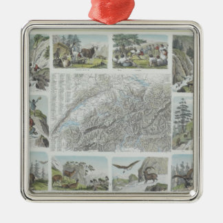 Map and Vignettes of Swiss Alps Christmas Ornaments
