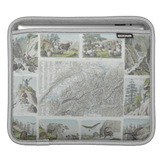 Map and Vignettes of Swiss Alps iPad Sleeve