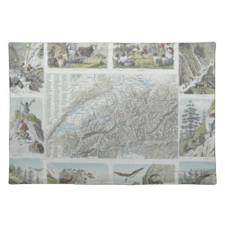 Map and Vignettes of Swiss Alps Placemat