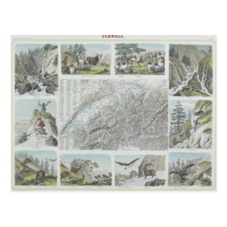 Map and Vignettes of Swiss Alps Postcard