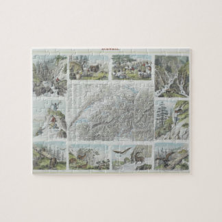 Map and Vignettes of Swiss Alps Puzzles