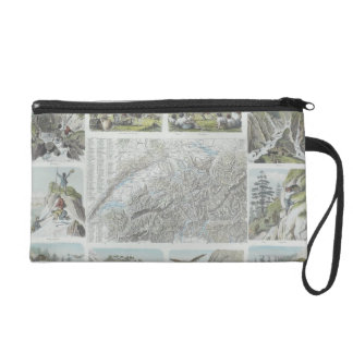 Map and Vignettes of Swiss Alps Wristlet