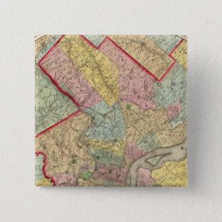 Map Around The City Of Philadelphia 15 Cm Square Badge