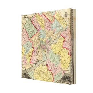 Map Around The City Of Philadelphia Canvas Print
