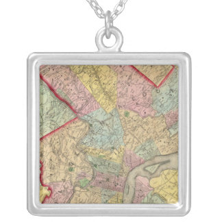 Map Around The City Of Philadelphia Silver Plated Necklace