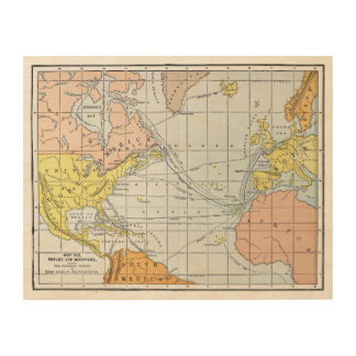 MAP: ATLANTIC VOYAGES WOOD WALL ART