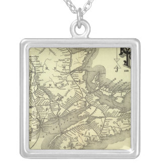 Map Boston and Maine Railroad 2 Silver Plated Necklace
