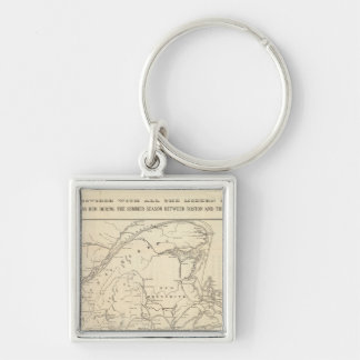 Map Boston and Maine Railroad Silver-Colored Square Key Ring