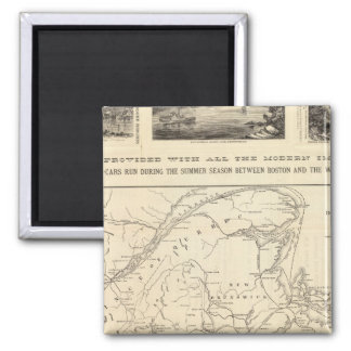 Map Boston and Maine Railroad Square Magnet