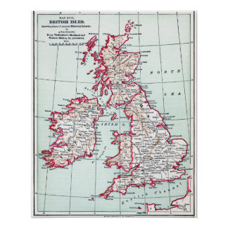 MAP: BRITISH ISLES, c1890 Poster