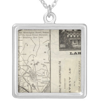 Map Central Vermont Railroad Silver Plated Necklace