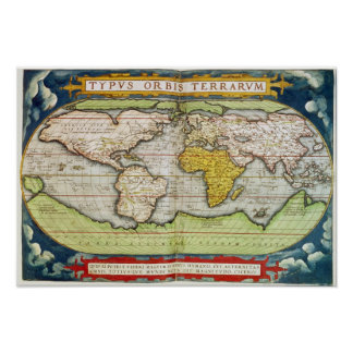Map charting Sir Francis Drake's Poster