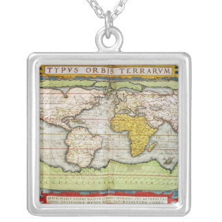 Map charting Sir Francis Drake's Silver Plated Necklace